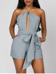 Open Back Halter Romper - BLUE GRAY