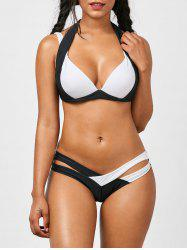 Spaghetti Strap Color Block Criss-Cross Bathing Suit - WHITE