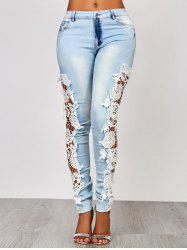 Sexy Hollow Out Lace Spliced Bodycon Pencil Jeans For Women - AZURE