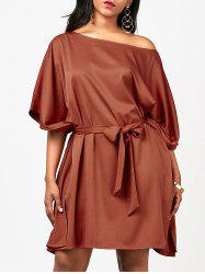 One Shoulder Loose Fit Belt Dress
