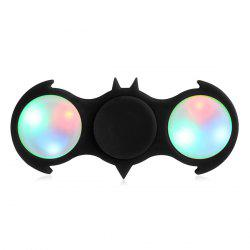 Fiddle Toy Bat Fidget Spinner with Colorful Flashing LED Lights - BLACK