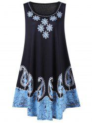 Plus Size Sleeveless Floral and Paisley Dress - BLACK AND BLUE