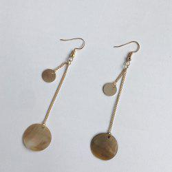 Metal Disc Circle Hook Chain Earrings