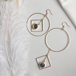 Asymmetric Rhinestone Circle Geometric Chain Earrings
