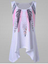 Plus Size Feather Print Tank Top - WHITE