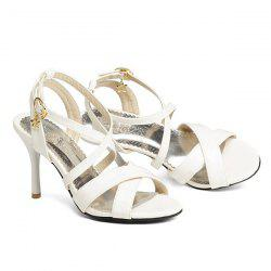 Cross Straps Patent Leather Sandals