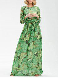 Tropical Print Floor Length Chiffon Swing Dress