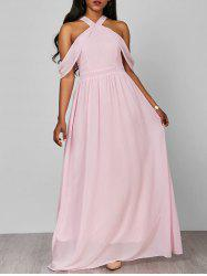 Cold Shoulder Long Chiffon Flounce Halter Formal Maxi Dress - PINK XL