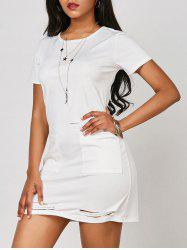 Ripped Pocketed T Shirt Dress