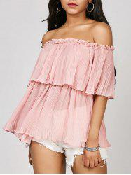 Ruffle Off The Shoulder Chiffon Blouse