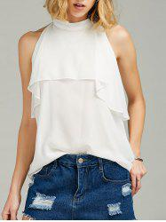 Ruffle High Neck Sleeveless Chiffon Top