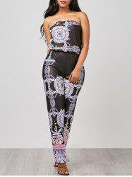 Printed High Waisted Tube Jumpsuit - BLACK