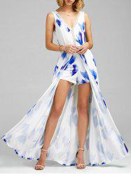 Floral Print Overlay Backless Maxi Romper - BLUE
