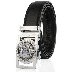 Rhinestone Alloy Wolf Carving Automatic Buckle Belt - SILVER AND BLACK