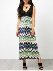 Chevron Print Empire Waist Sleeveless Maxi Dress
