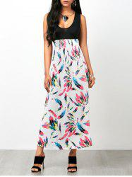 Feather Print Empire Waist Sleeveless Maxi Dress