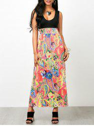 Paisley Floral Empire Waist Sleeveless Maxi Dress - COLORMIX ONE SIZE