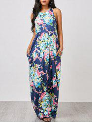 Floral Racerback Maxi Sleeveless Summer Dress - PURPLISH BLUE