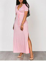High Waist Split Surplice Maxi Dress With Short Sleeve