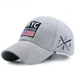Letters American Flag Patchwork Baseball Hat - LIGHT GRAY