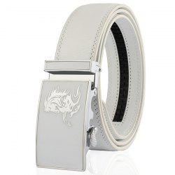 Automatic Buckle Polished Horse Head Pattern Belt - WHITE