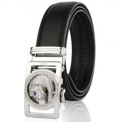 Auto Buckle Leopard Head Carved Belt - SILVER AND BLACK 130CM