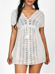 Crochet Insert Drawstring Beach Tunic Cover-Up