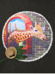 Round Giraffe Print Beach Throw with Fringes -