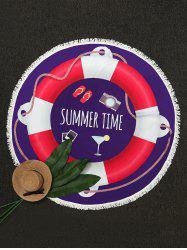Swim Ring Print Round Fringe Beach Throw - PURPLE