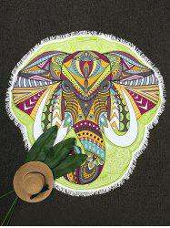 Sunbath Fringe Elephant Head Print Beach Throw