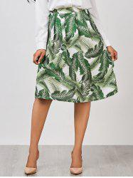 A Line Palm Leaf Print Knee Length Skirt