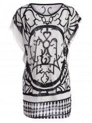 Tribal Print Butterfly Sleeve Top - WHITE