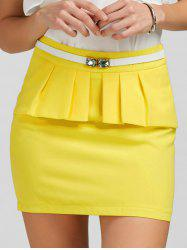 Ruffle Belt Insert Mini Fitted Skirt - YELLOW