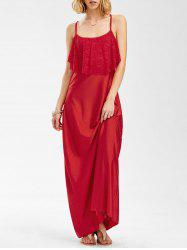 Long Slip Lace Trim Backless Floor Length Dress - RED