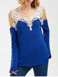 Crochet Trim Cold Shoulder Long Sleeve Top