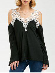 Crochet Trim Cold Shoulder Long Sleeve Top - BLACK