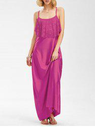 Long Slip Lace Trim Backless Floor Length Dress - ROSE MADDER