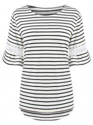 Plus Size Stripe Bell Sleeve T-Shirt with Lace Trim