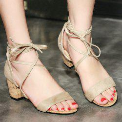 Suede Lace Up Mid Heel Sandals