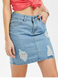 Bodycon Ripped Mini Denim Skirt - BLUE