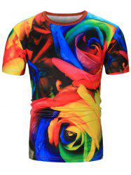 Colorful Rose 3D Printed Tee - COLORMIX