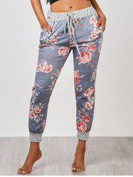 Ankle Length Floral Jogger Pants - GRAY