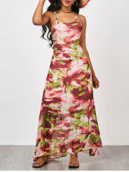 Lace Up Chiffon Print Maxi Summer Dress