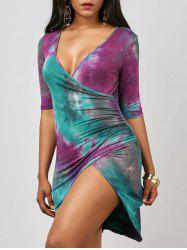 Tie Dye Ruched Mini Dress
