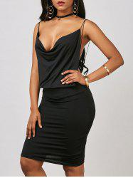 Cowl Neck Backless Sheath Mini Dress