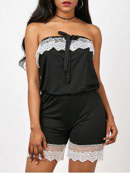 Lace Insert Strapless Romper