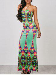 Geometric Strapless Maxi Prom Dress