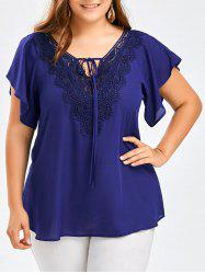 Plus Size Lace Panel Tie Front Blouse - BLUE