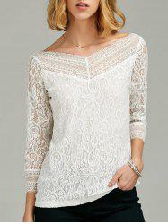 Lace Insert Sheer Sleeve T-Shirt