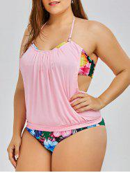 Tropical Pineapple Plus Size Halter Tankini Swimsuits